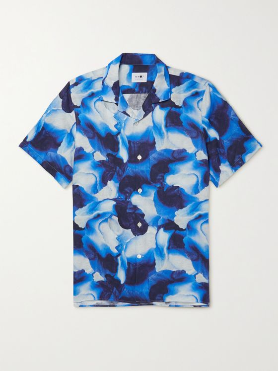 NN07 Miyagi Camp-Collar Printed Lyocell and Linen-Blend Shirt
