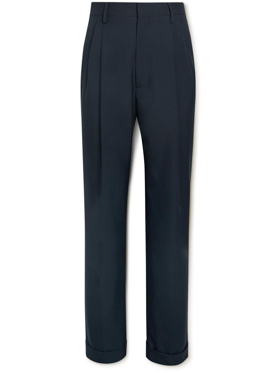 Marni - Wide-Leg Pleated Virgin Wool Trousers - Men - Blue - It 48