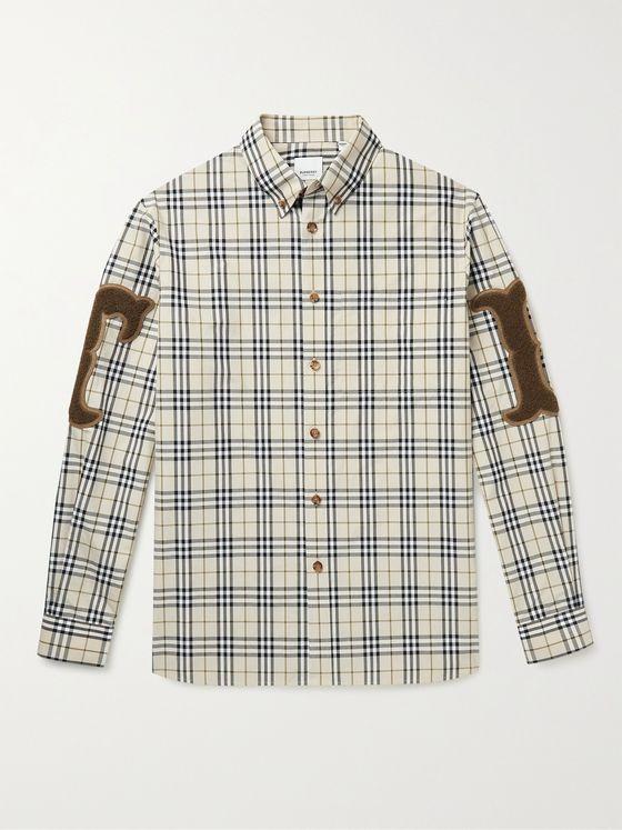 BURBERRY Button-Down Collar Chenille-Appliqued Checked Cotton-Poplin Shirt