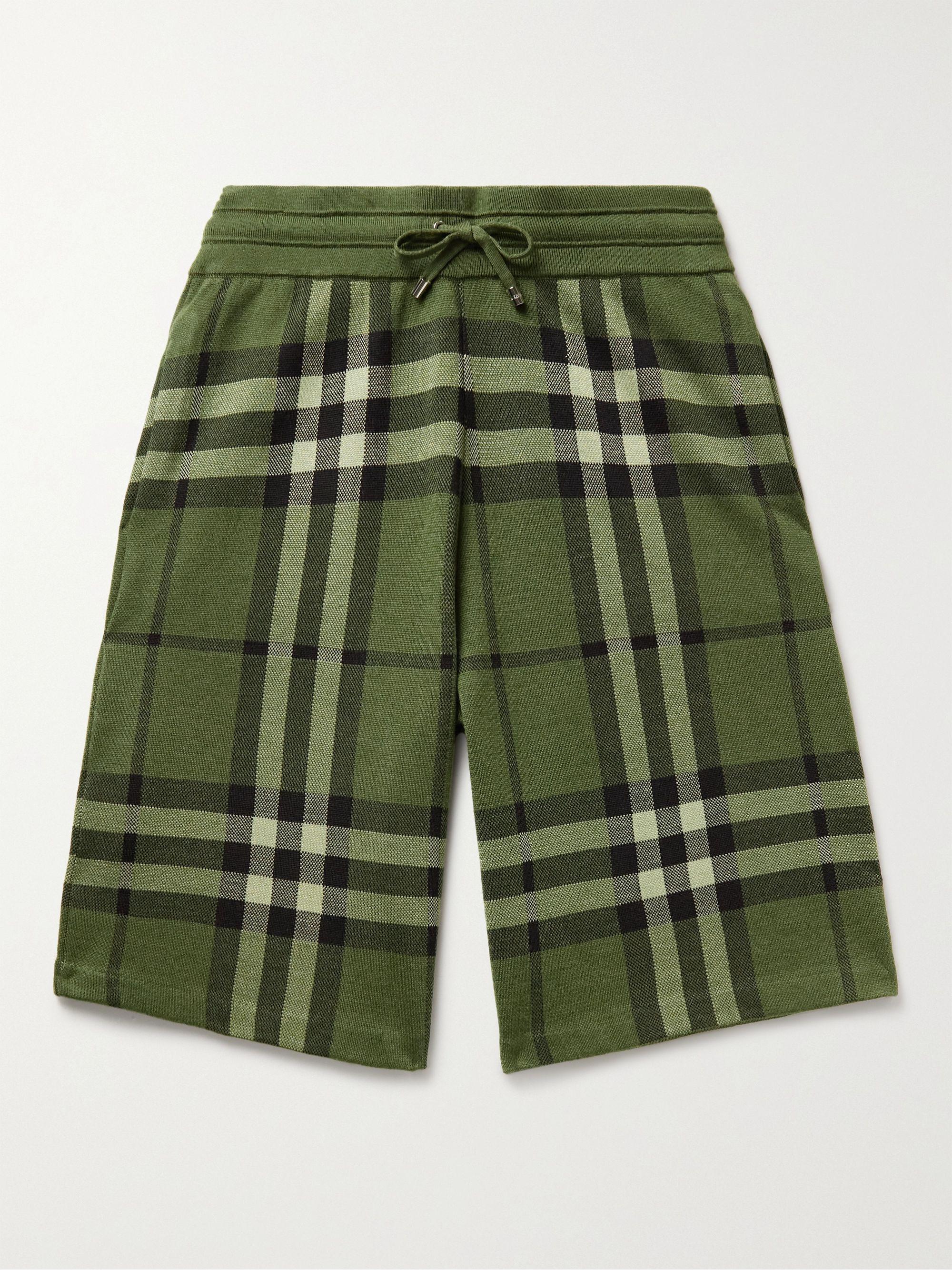 BURBERRY Checked Silk and Wool-Blend Jacquard Drawstring Shorts