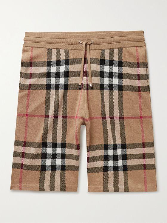 BURBERRY Birdseye Checked Silk and Wool-Blend Drawstring Shorts