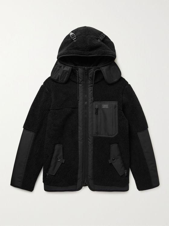 BURBERRY Ripstop-Trimmed Fleece Hooded Jacket