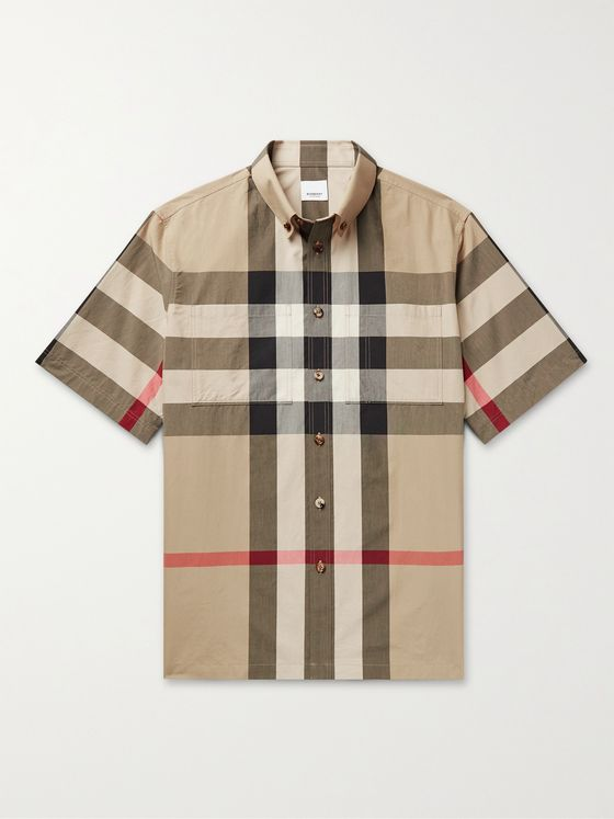 BURBERRY Button-Down Collar Checked Cotton-Poplin Shirt