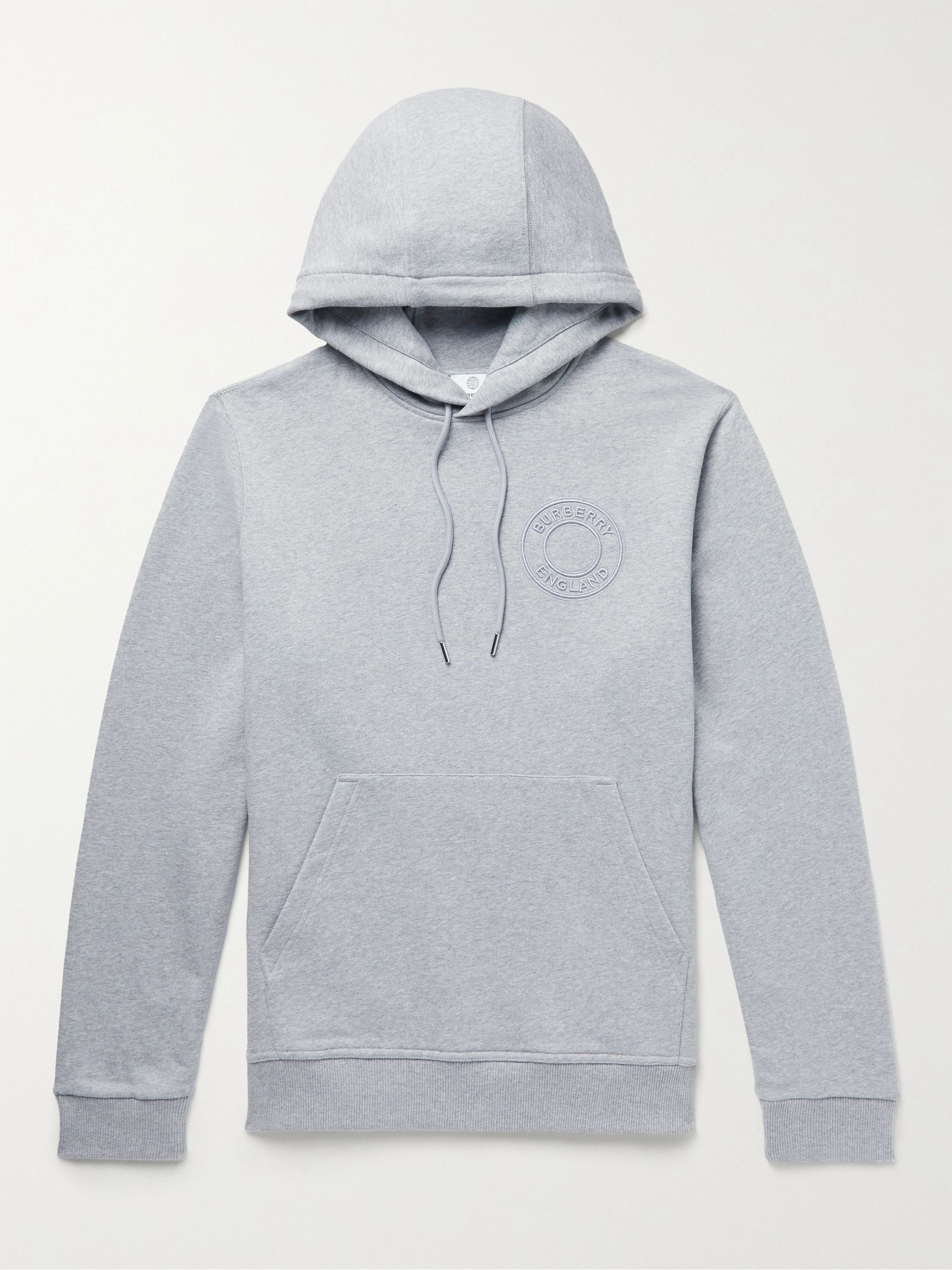BURBERRY Logo-Embrodered Cotton-Jersey Hoodie