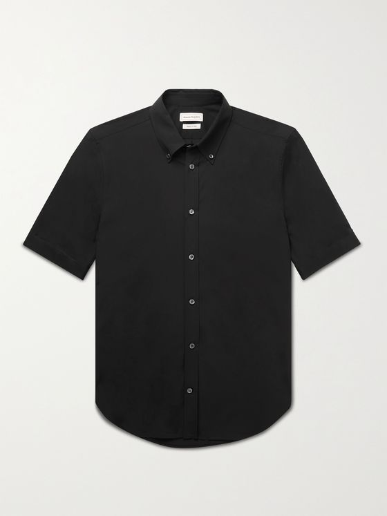 ALEXANDER MCQUEEN Brad Pitt Slim-Fit Button-Down Collar Cotton-Blend Poplin Shirt