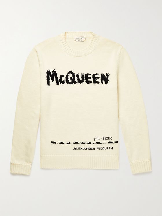 ALEXANDER MCQUEEN Logo-Intarsia Cotton Sweater