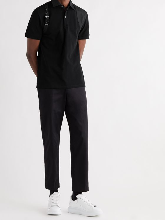 ALEXANDER MCQUEEN Harness-Detailed Cotton-Piqué Polo Shirt