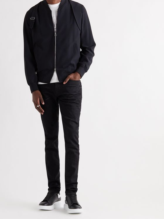 ALEXANDER MCQUEEN Slim-Fit Harness-Detailed Crepe Bomber Jacket
