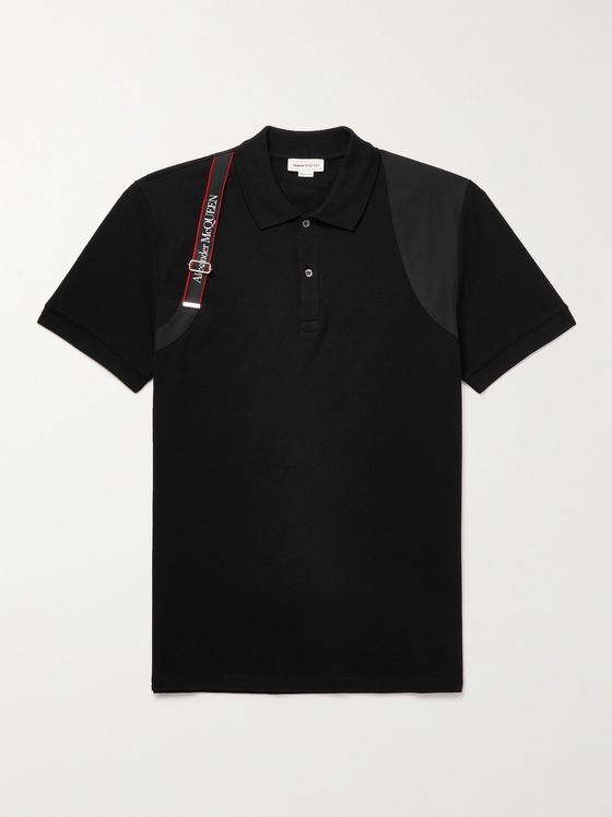 ALEXANDER MCQUEEN Slim-Fit Harness-Detailed Cotton-Piqué Polo Shirt
