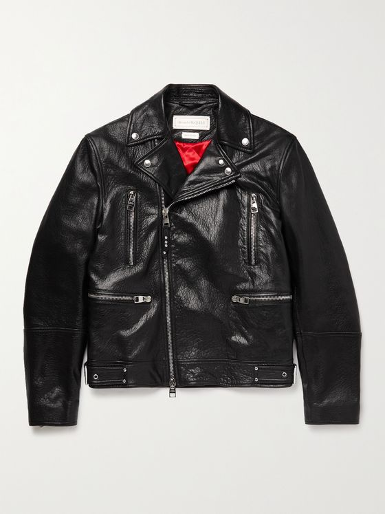 ALEXANDER MCQUEEN Full-Grain Leather Biker Jacket