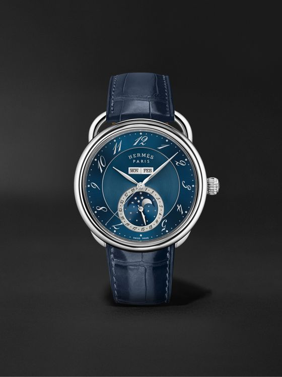HERMÈS TIMEPIECES Arceau Grande Lune Automatic Moon-Phase 43mm Steel and Alligator Watch, Ref. No. 053222WW00