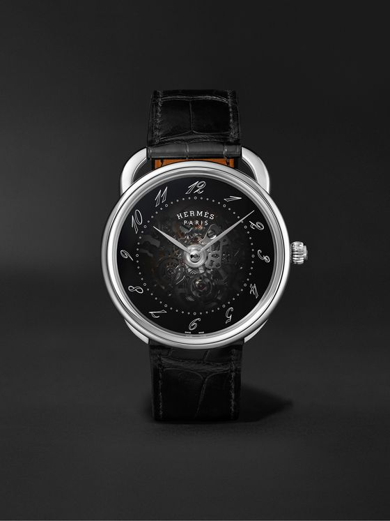 HERMÈS TIMEPIECES Arceau Squelette Automatic Skeleton 40mm Steel and Alligator Watch, Ref. No. 055537WW00