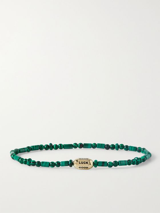LUIS MORAIS 14-Karat Gold Malachite Beaded Bracelet