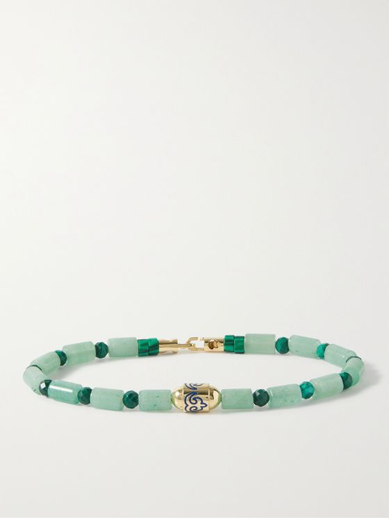 LUIS MORAIS 14-Karat Gold, Chrysoprase, Malachite and Enamel Bracelet