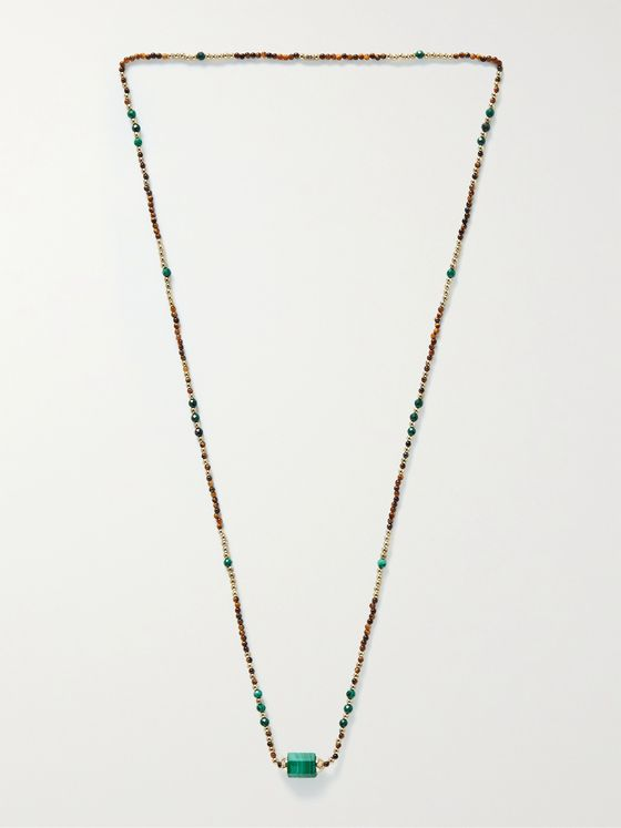 LUIS MORAIS 14-Karat Gold, Malachite and Bead Necklace