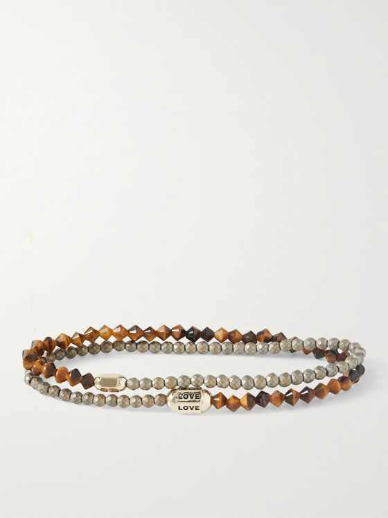LUIS MORAIS 14-Karat Gold, Tiger's Eye and Enamel Wrap Bracelet