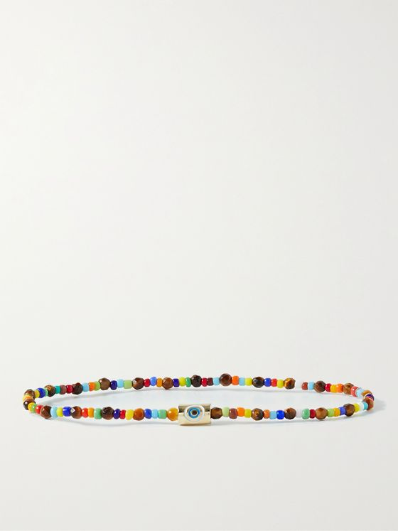 LUIS MORAIS Evil Eye 14-Karat Gold, Bead and Enamel Bracelet