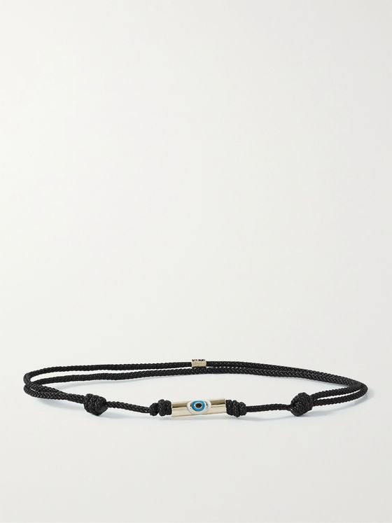 LUIS MORAIS Evil Eye 14-Karat Gold, Enamel and Cord Bracelet
