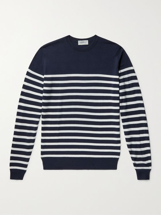 JOHN SMEDLEY John Slim-Fit Striped Merino Wool Sweater