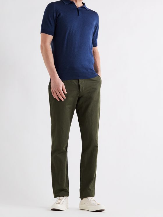 JOHN SMEDLEY Payton Slim-Fit Wool and Cotton-Blend Polo Shirt