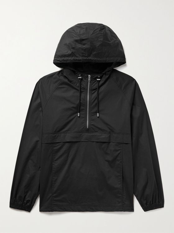 FRAME Cotton-Blend Hooded Half-Zip Anorak