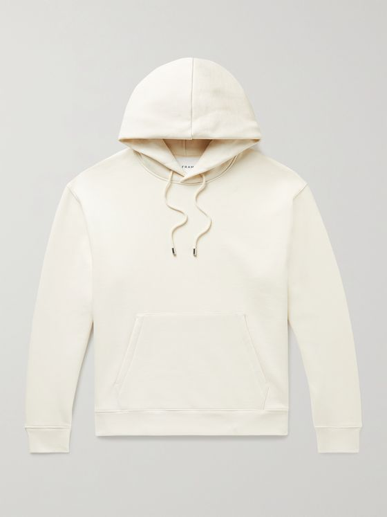 FRAME Logo-Appliquéd Fleece-Back Cotton-Blend Jersey Hoodie