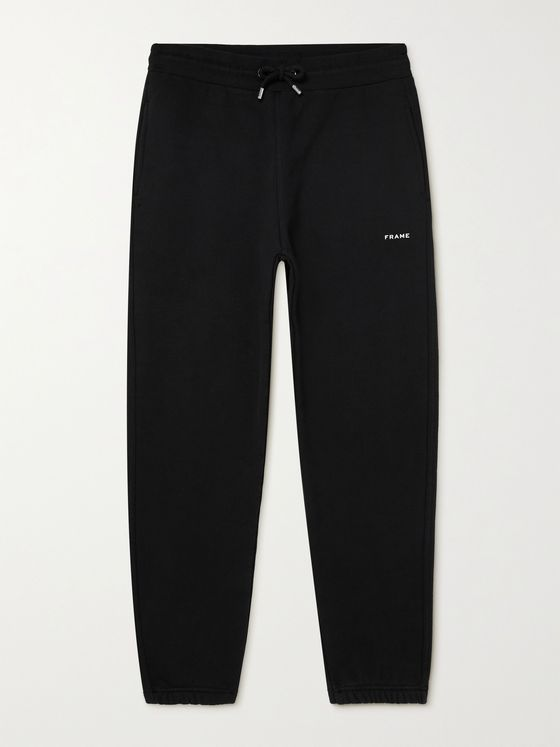 FRAME Tapered Logo-Print Fleece-Back Cotton-Blend Jersey Sweatpants