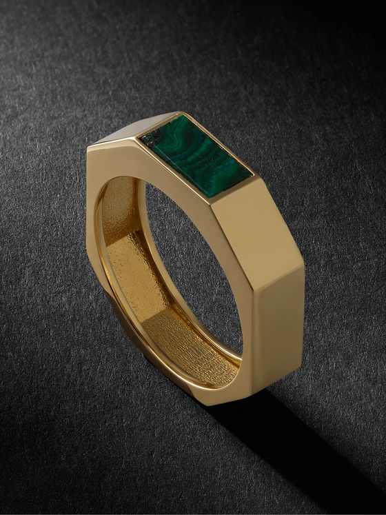 LUIS MORAIS 14-Karat Gold and Malachite Ring