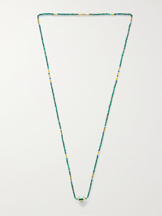 LUIS MORAIS 14-Karat Gold, Bead and Multi-Stone Necklace