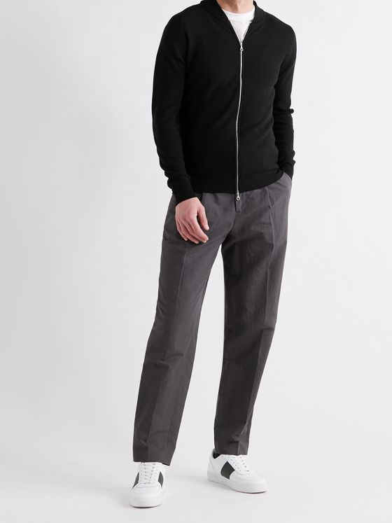 JOHN SMEDLEY 6Singular Honeycomb-Knit Merino Wool Zip-Up Cardigan