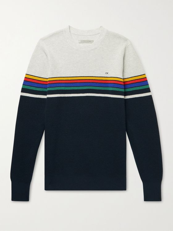 OUTERKNOWN Nostalgic Striped Waffle-Knit Organic Cotton-Blend Sweater