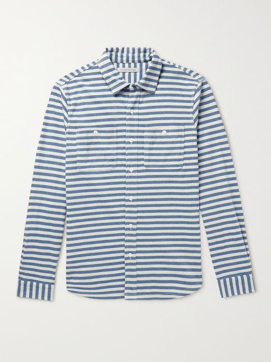 OUTERKNOWN Striped Recycled Cotton-Blend Shirt