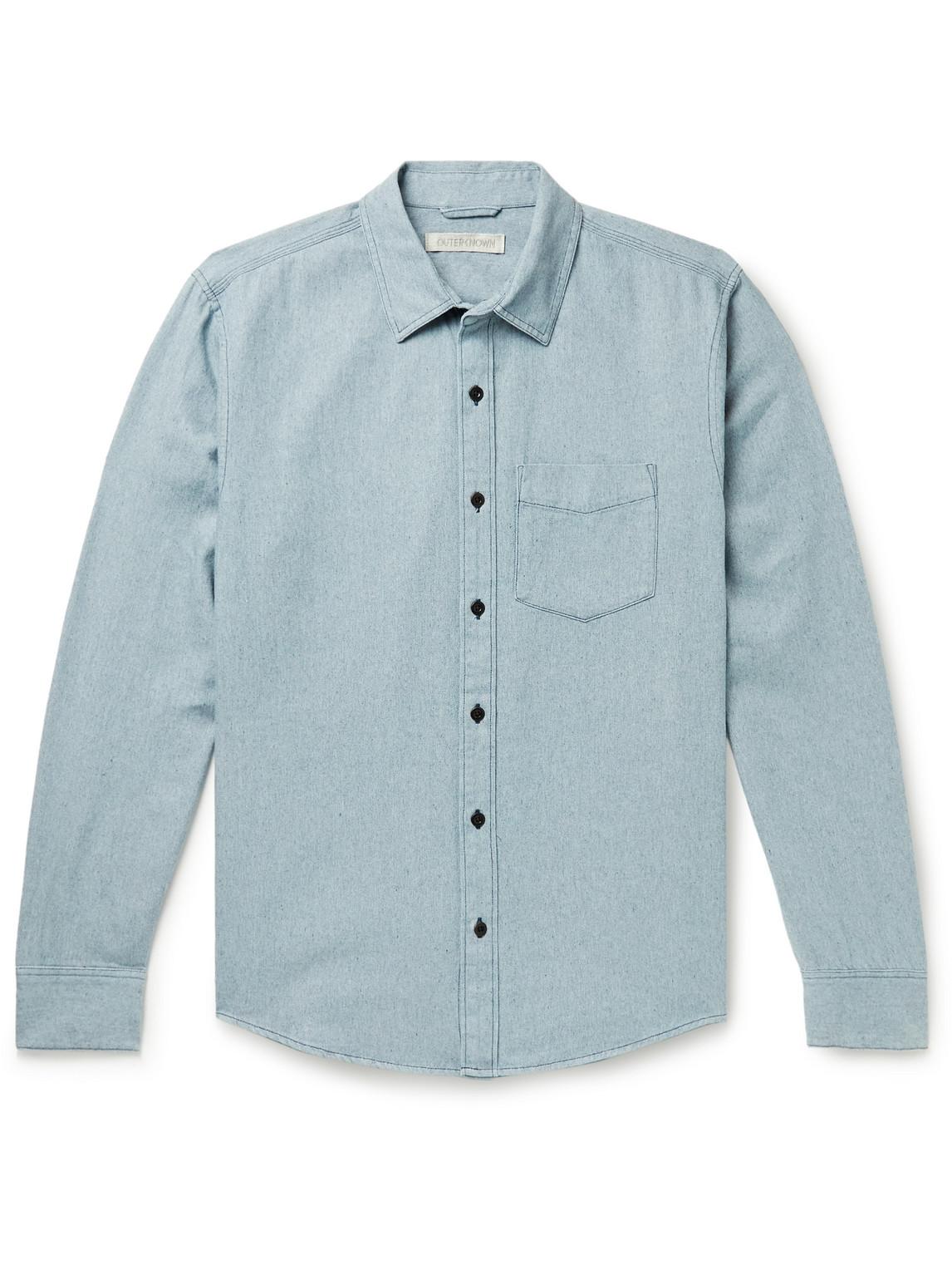 outerknown - cotton-chambray shirt - men - blue - l