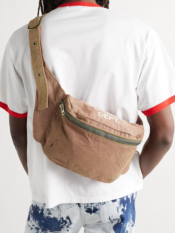 GALLERY DEPT. Logo-Print Distressed Canvas Belt Bag