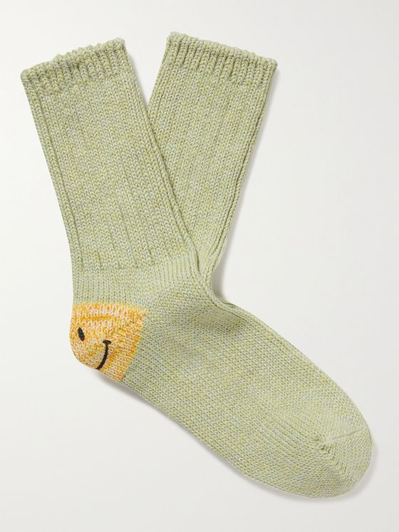 KAPITAL Intarsia Cotton and Hemp-Blend Socks