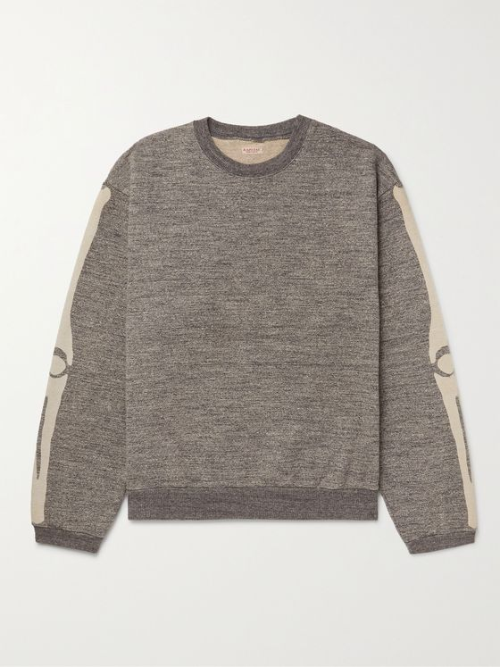 KAPITAL Printed Mélange Loopback Cotton-Jersey Sweatshirt