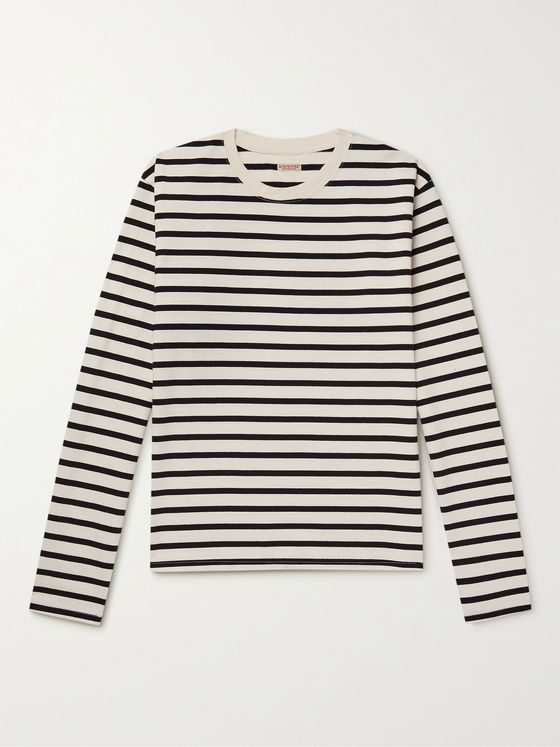 KAPITAL Printed Striped Cotton-Jersey T-Shirt