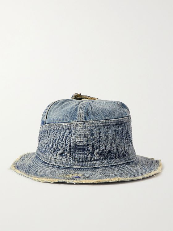 KAPITAL Distressed Denim Bucket Hat