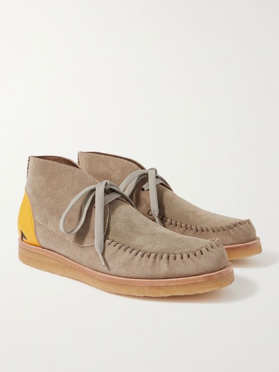 KAPITAL Leather-Trimmed Suede Desert Boots