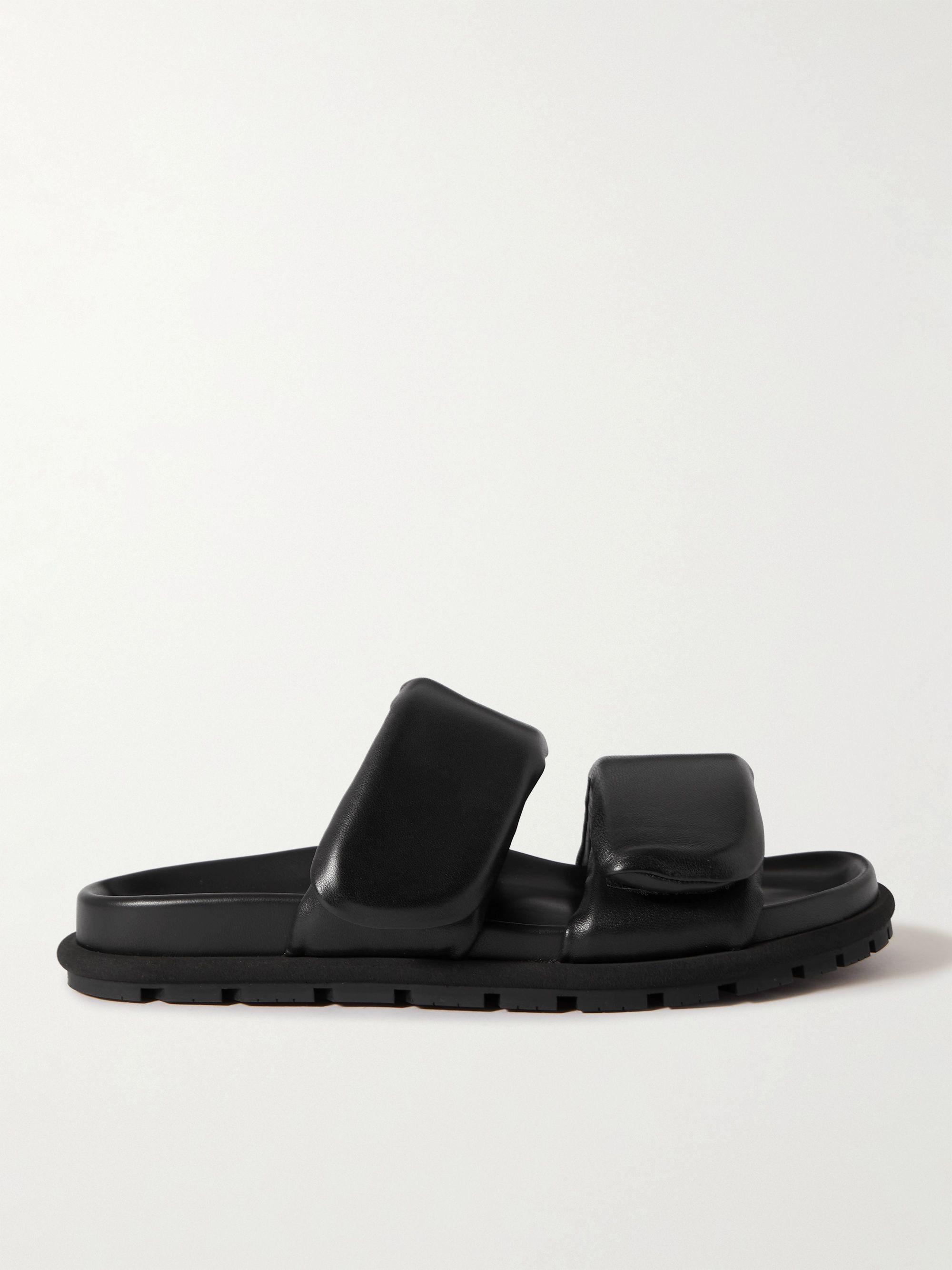 Dries Van Noten Padded Nylon and Leather Slides,Black