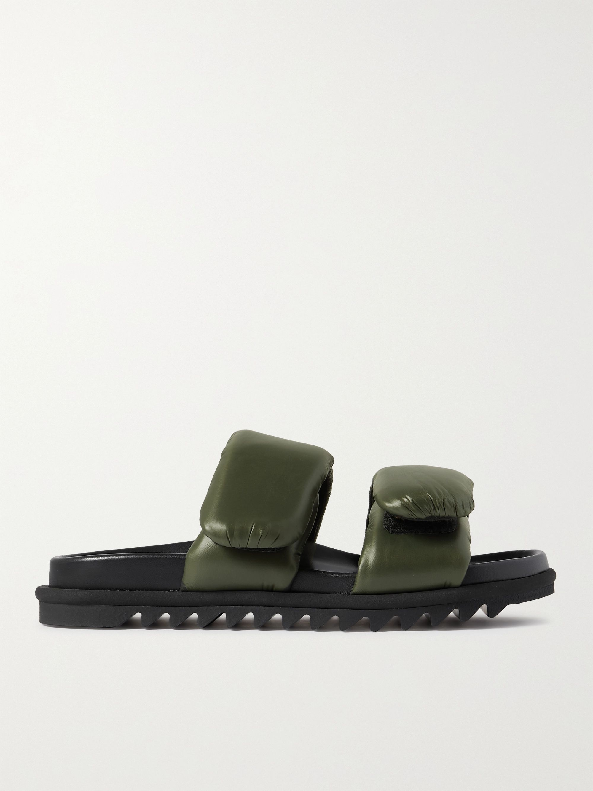 Dries Van Noten Padded Nylon and Leather Slides,Green