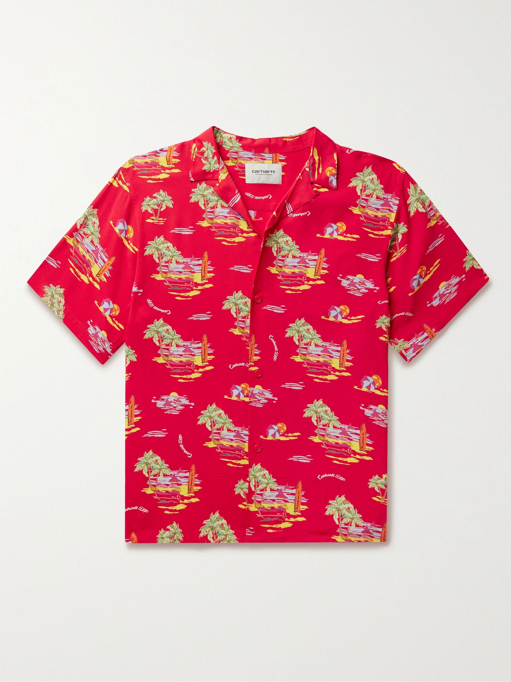 칼하트WIP Carhartt WIP Convertible-Collar Printed Voile Shirt,Red