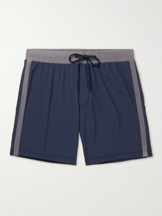 JAMES PERSE Double Stripe Mid-Length Swim Shorts