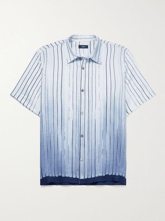 THEORY Striped Degrade Linen Shirt