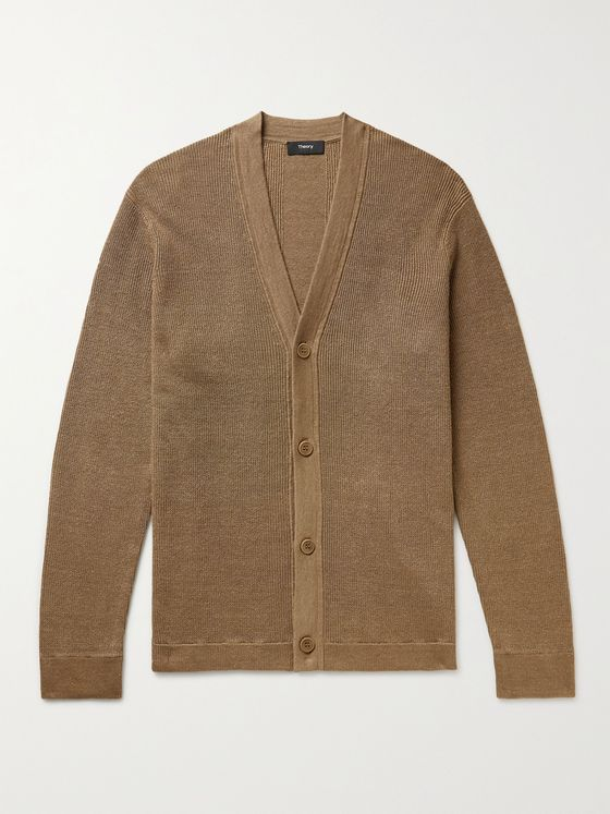 THEORY Maragall Ribbed Linen-Blend Cardigan