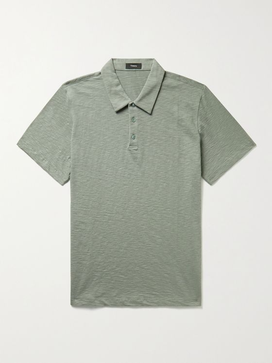 THEORY Bron Slub Cotton-Jersey Polo Shirt