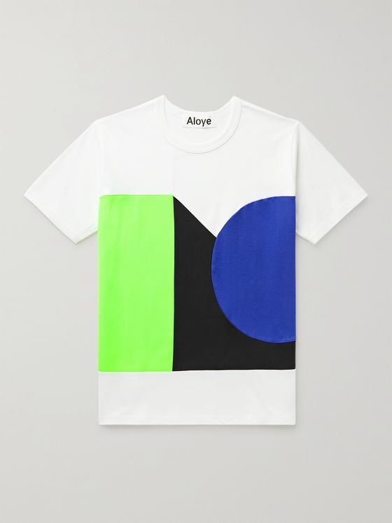 ALOYE Colour-Block Cotton-Jersey T-Shirt