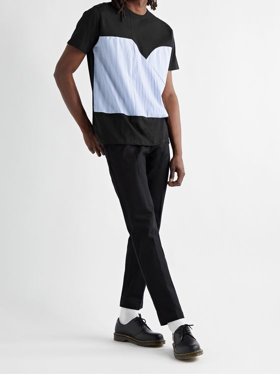 ALOYE Poplin-Panelled Cotton-Jersey T-Shirt
