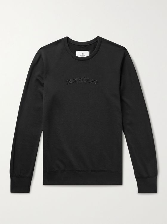 REIGNING CHAMP Slim-Fit Logo-Embroidered Loopback Pima Cotton-Jersey Sweatshirt