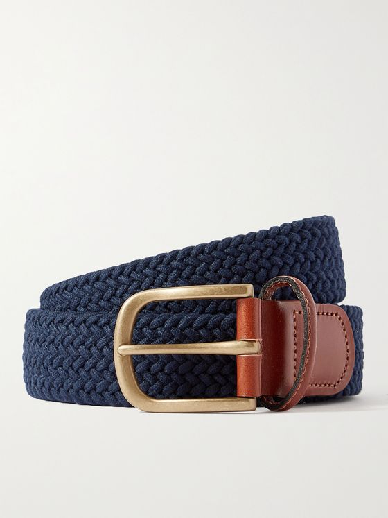 ANDERSON & SHEPPARD 3.5cm Leather-Trimmed Woven Belt